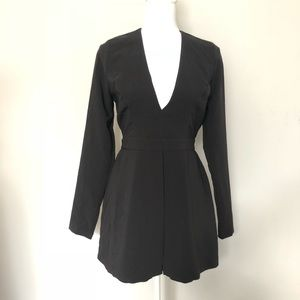 Forever 21 Contemporary Romper Black Long Sleeve